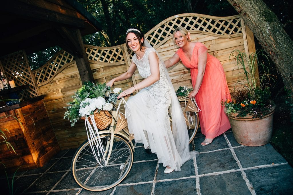 Bride on her bike at Beamish Park Hotel