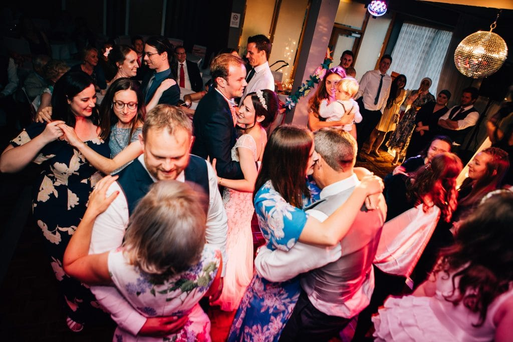 Guests & Family joining Mary & Alex on the dance floor at Beamish Park Hotel