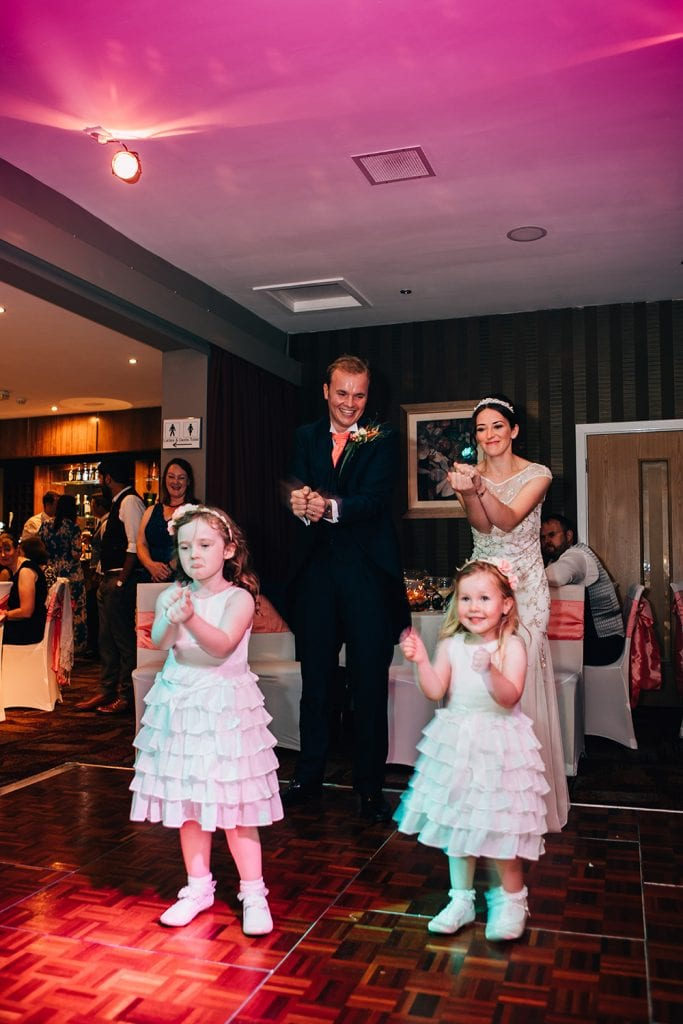 Bride & Groom dancing with Bridesmaids at Beamish Park Hotel