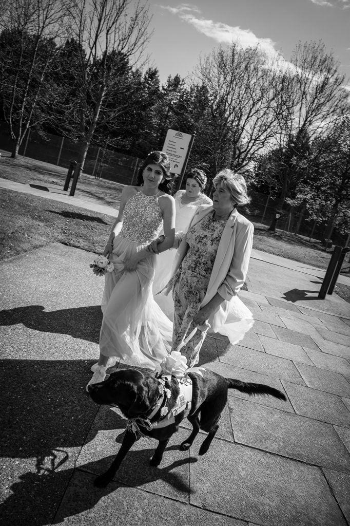 Bride walking to the venue
