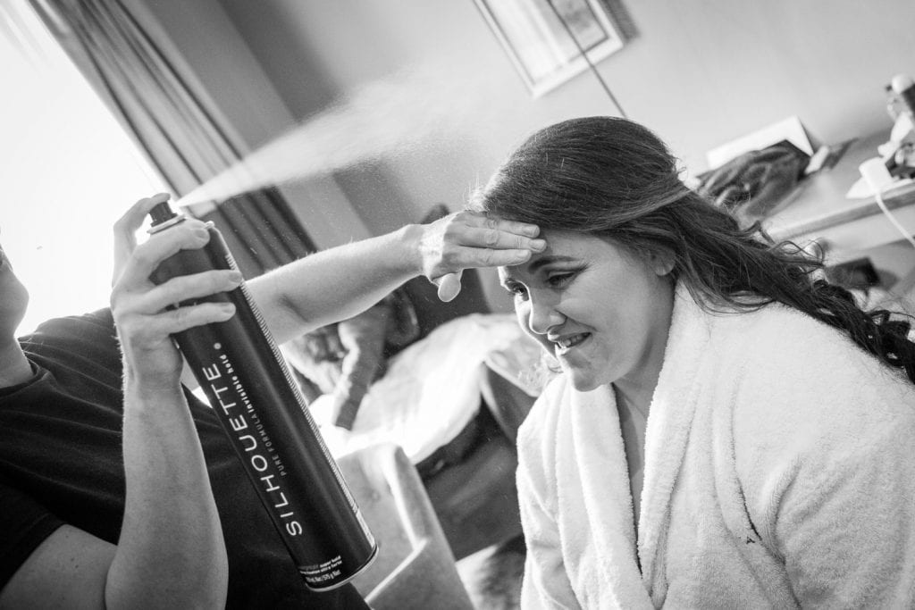 Bride having her hair styled at Seaham Hall