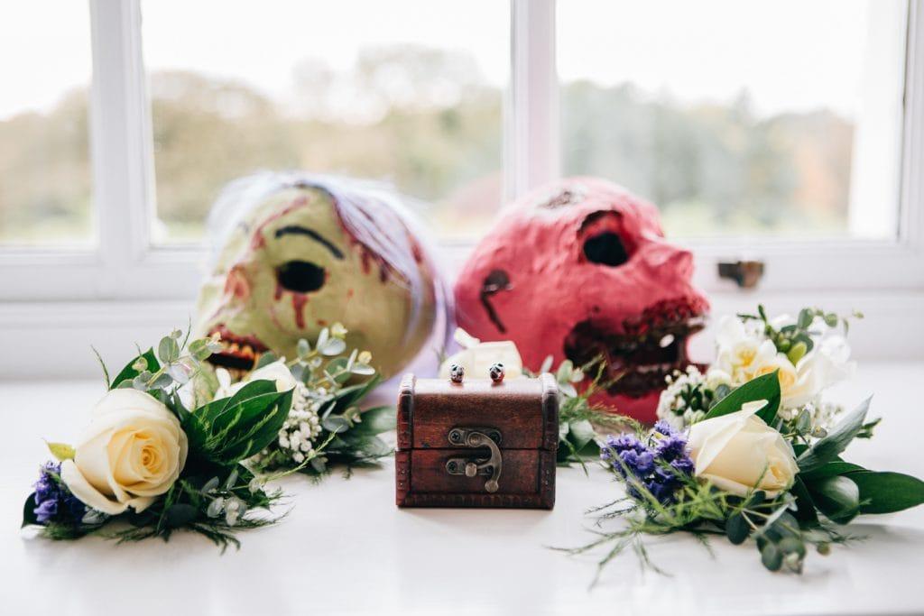 Wedding rings and zombie skulls