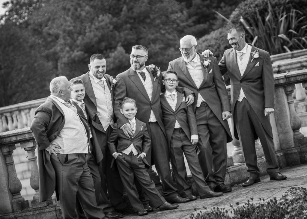 Groomsmen in Seaham Hall Gardens