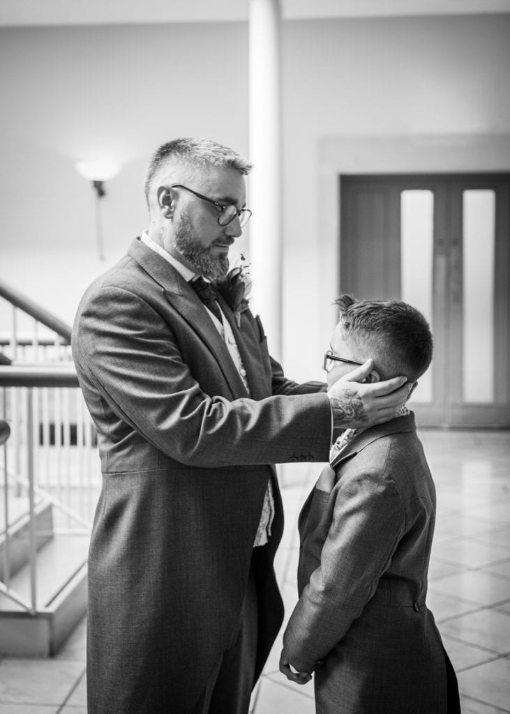 Groom hold son at Seaham Hall
