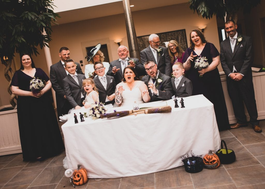 Scary Wedding party pulling faces at Seaham Hall