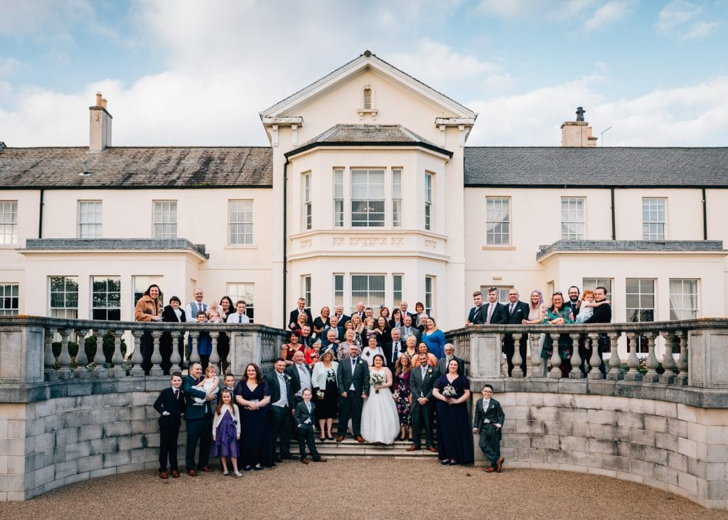 Whole wedding in front of Seaham Hall