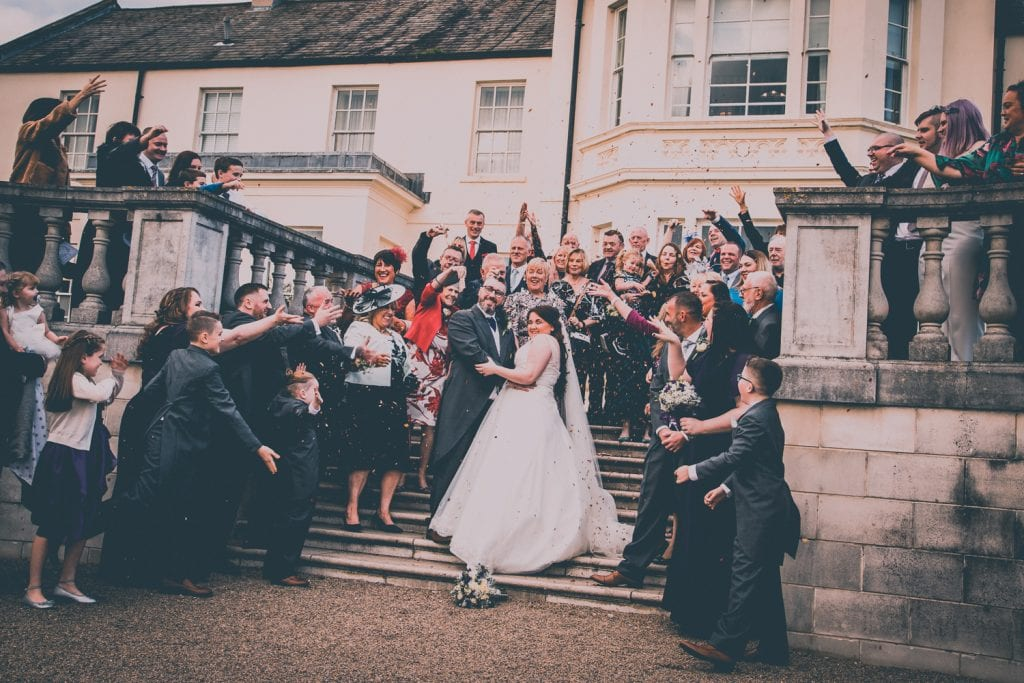 Confetti on the steps of Seaham Hall gardens