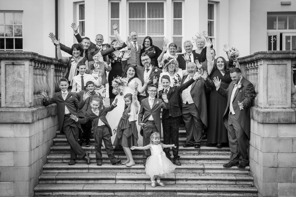 Fun Family photo on the steps of Seaham Hall gardens