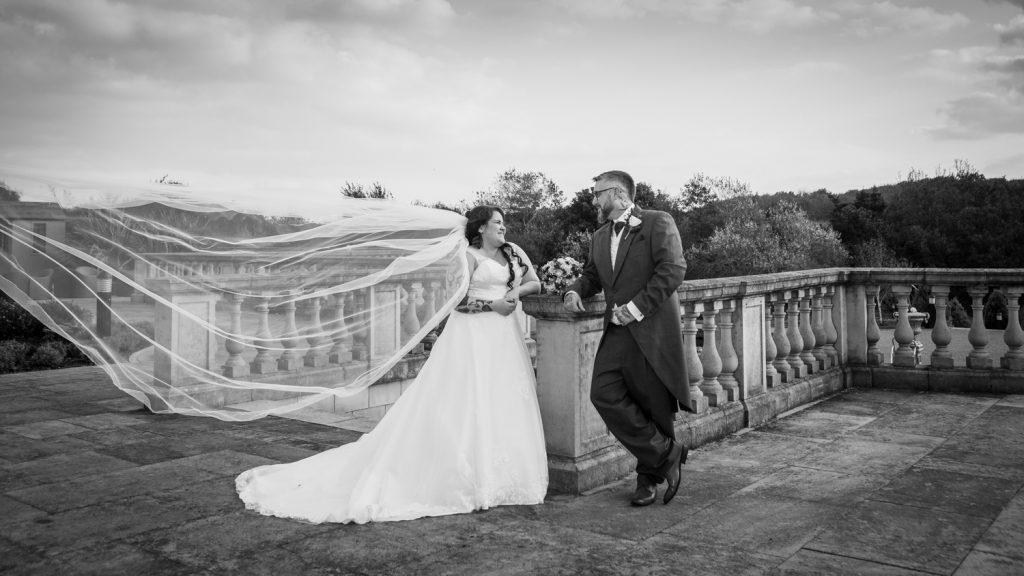 Bride & Groom on the Seaham Hall Terrace