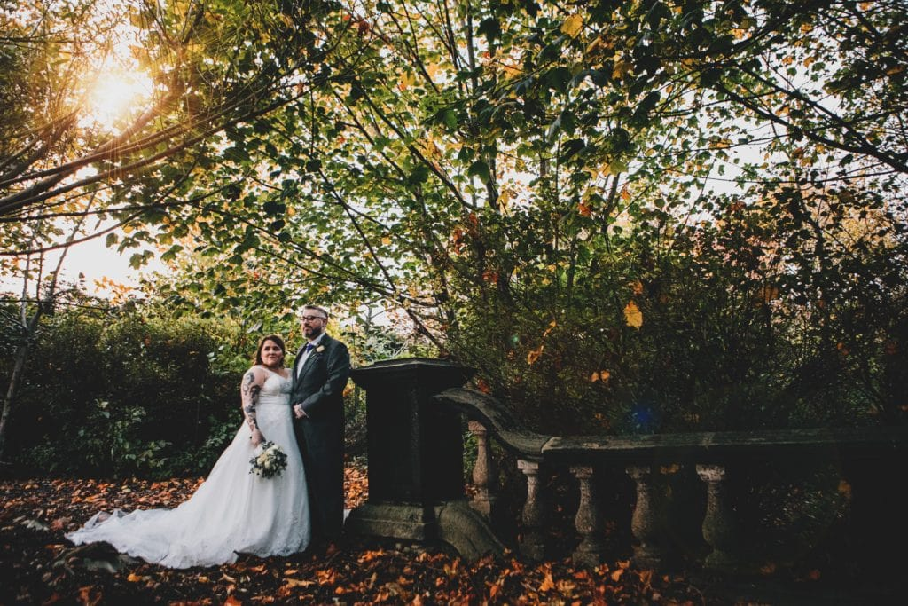 Ben & Emma in the Autum Leaves at Seaham Hall