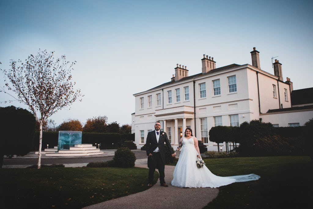 Emma & Ben in front of Seaham Hall