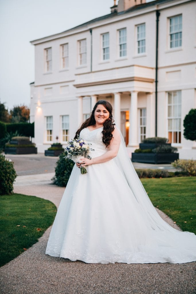 Bride in front of Seaham Hall