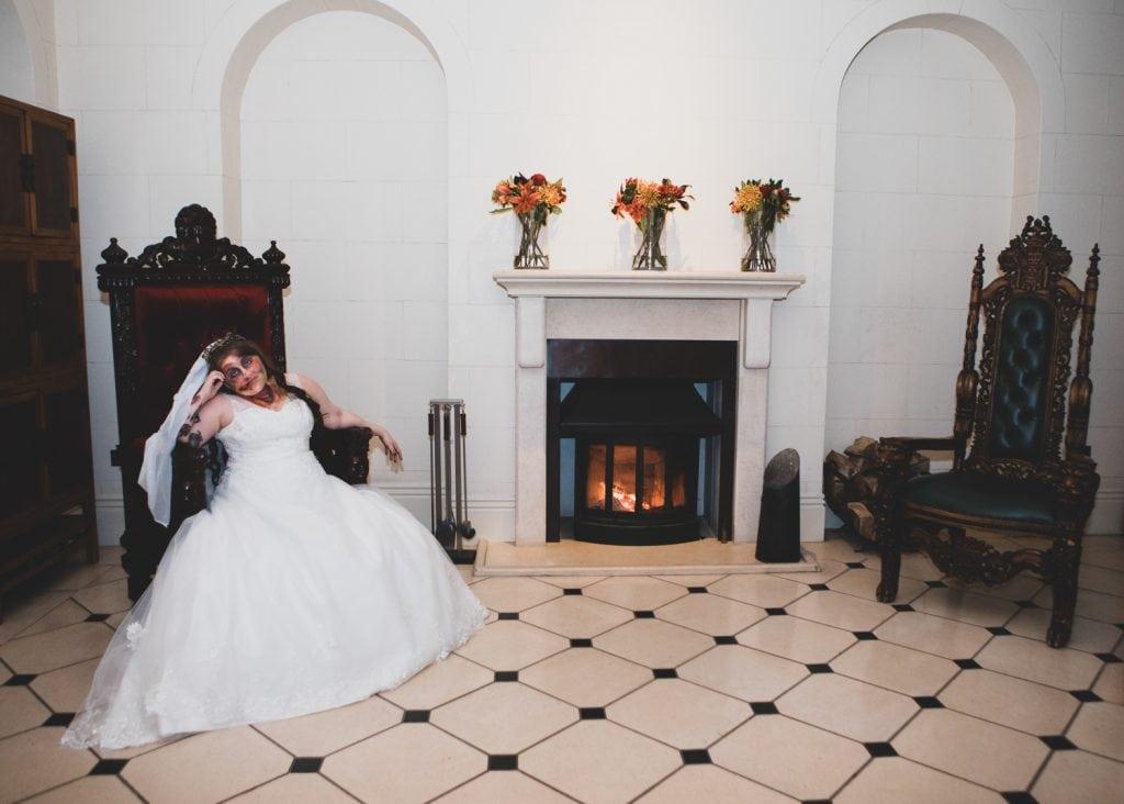 Zombie bridein Seaham Hall entrance