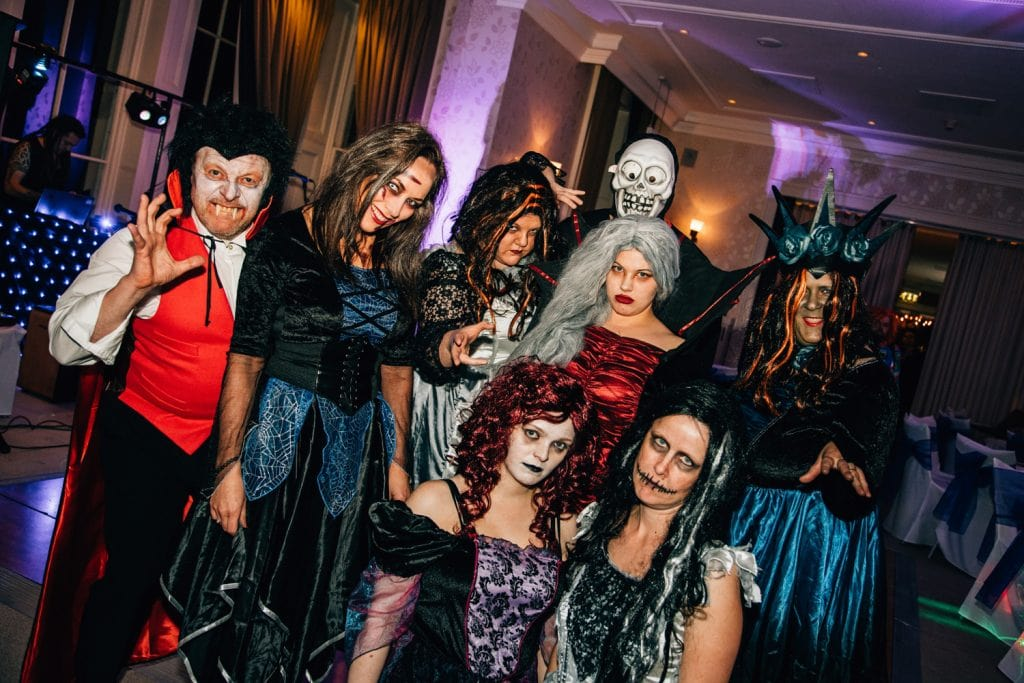 Halloween Wedding Guests at Seaham Hall