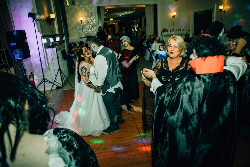 Guests joining Emma & Ben on the dance floor at Seaham Hall