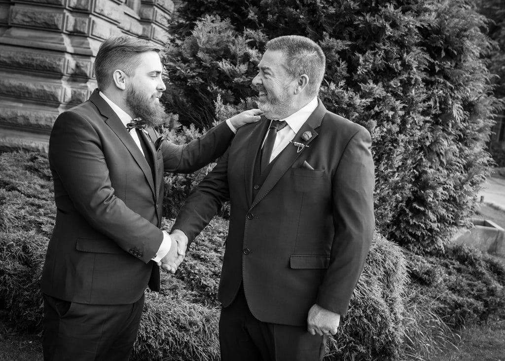 Groom greeting his father at South Shields Town Hall