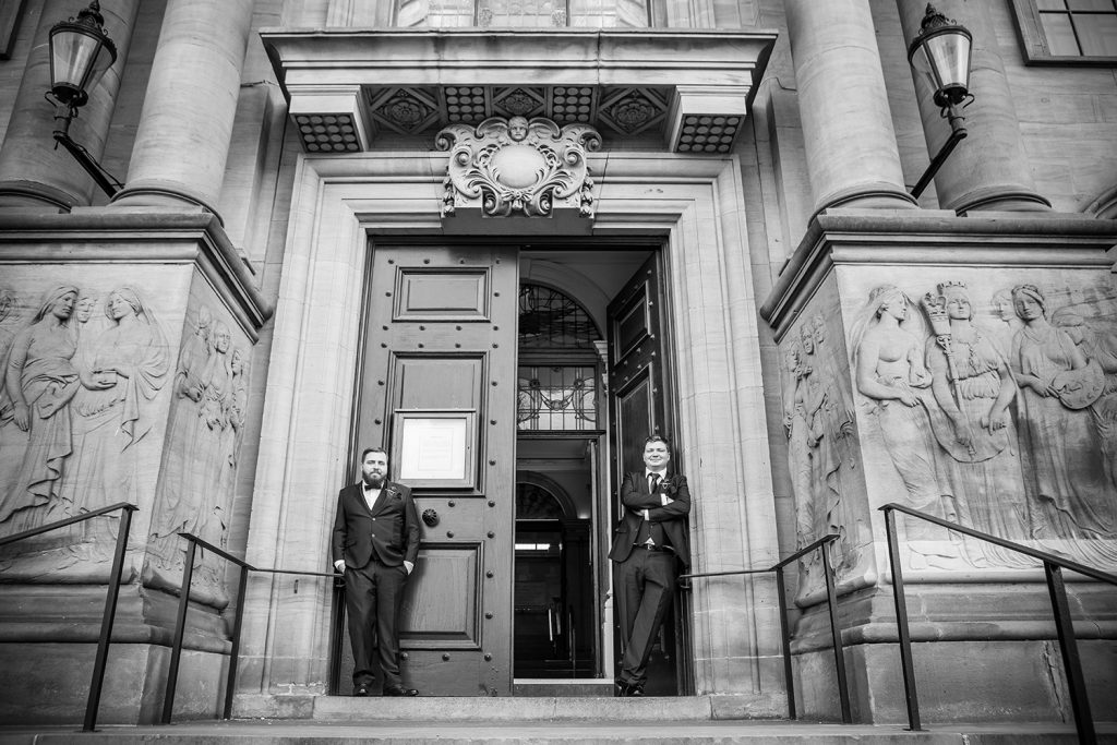 Groom & his brother at the doors of south shields town hall
