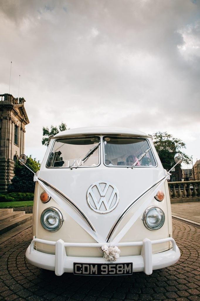 VW Camper Van arriving with the Bride