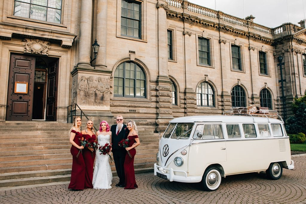 Bride outside South Shields Town Hall with her dad & bridesmaids