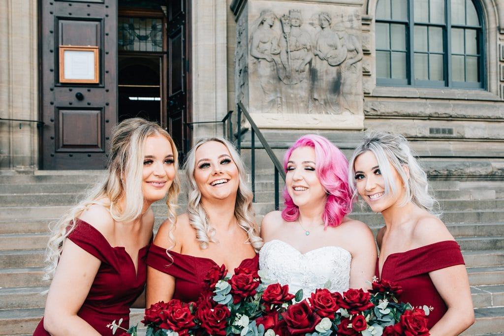 Brides & Bridesmaids giggling outside South Shields Town Hall