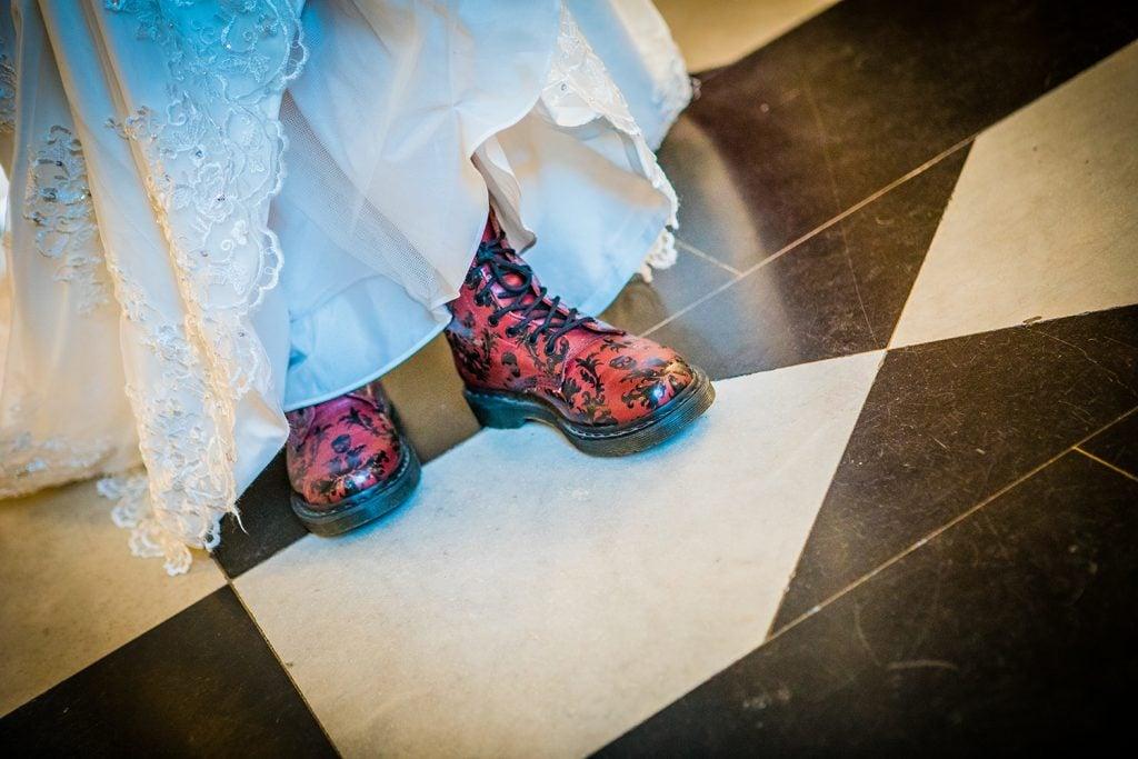 Bride flashing her Doc Martin Boots