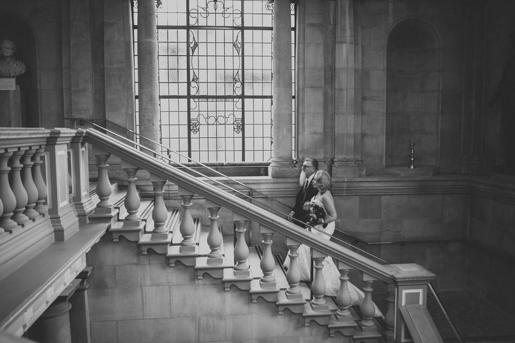 Bride and her father walking up the steps of South Shields Town Hall