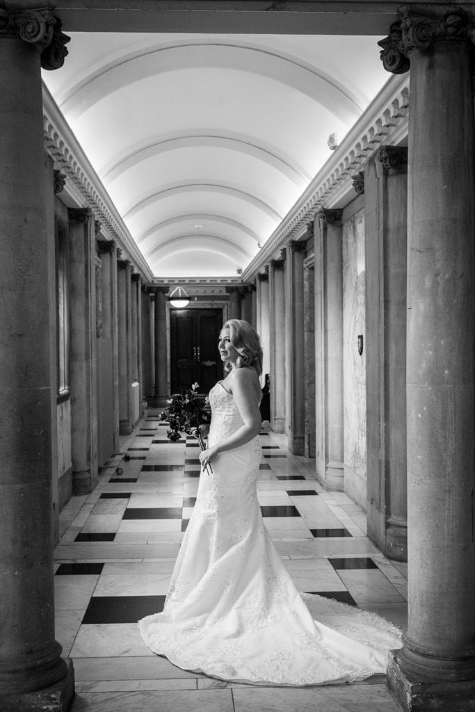 Bride posing in the corridors of South Shields Town Hall