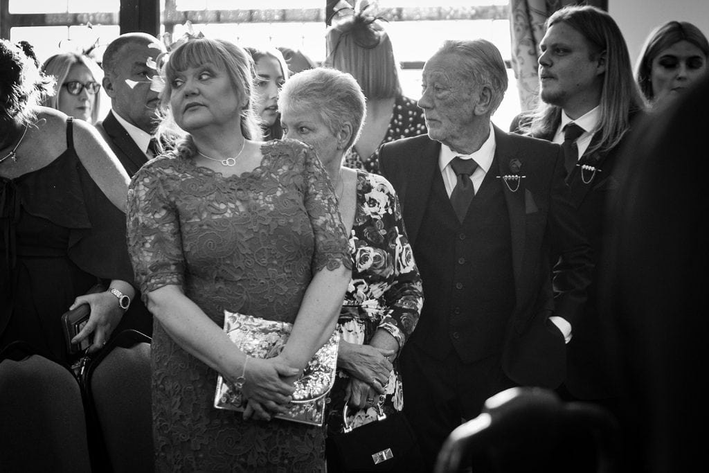 Guests watching for the bride