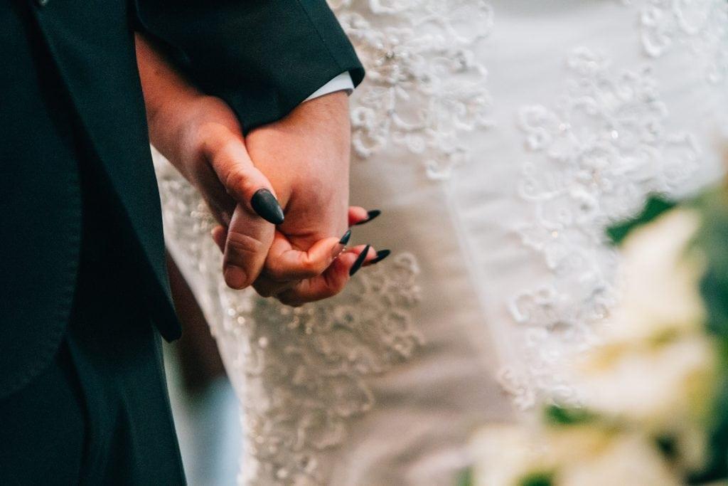Bride with black nail polish