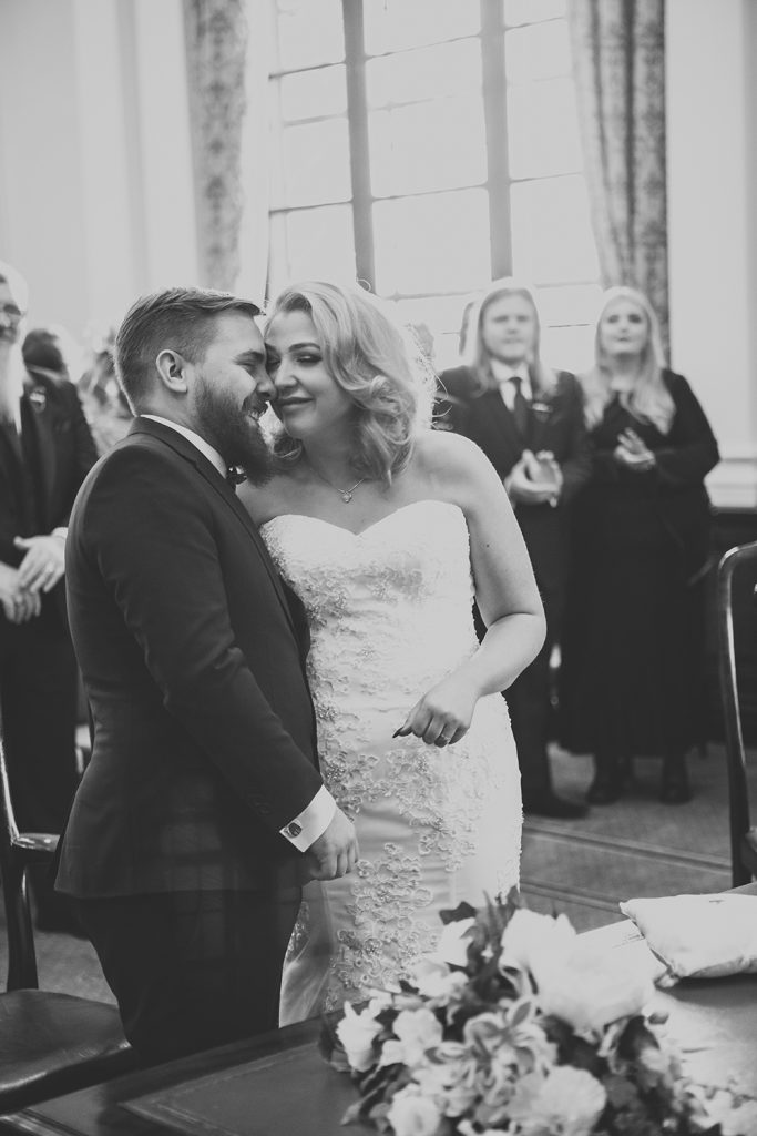 Cuddles during the wedding service at South Shields Town Hall