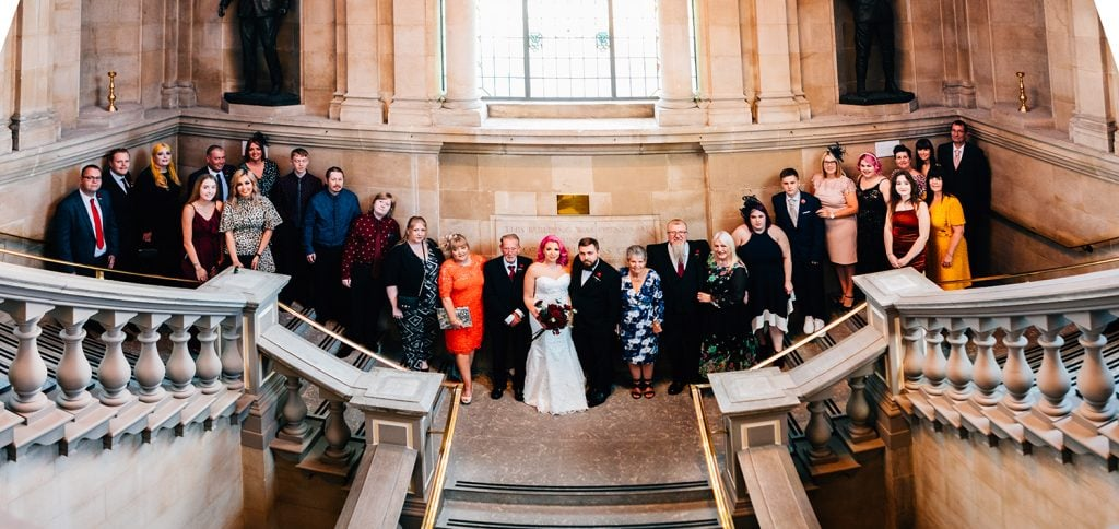 Family group on the stairs of South Shields Town Hall