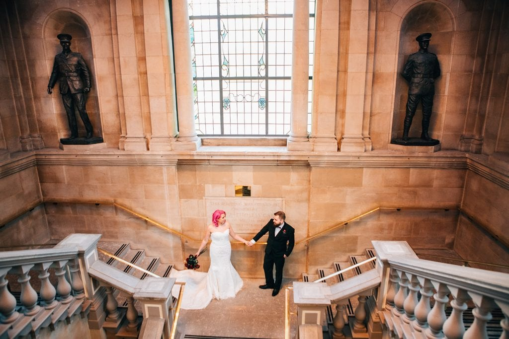 Bride & Groom on the stairs of South Shields Town Hall