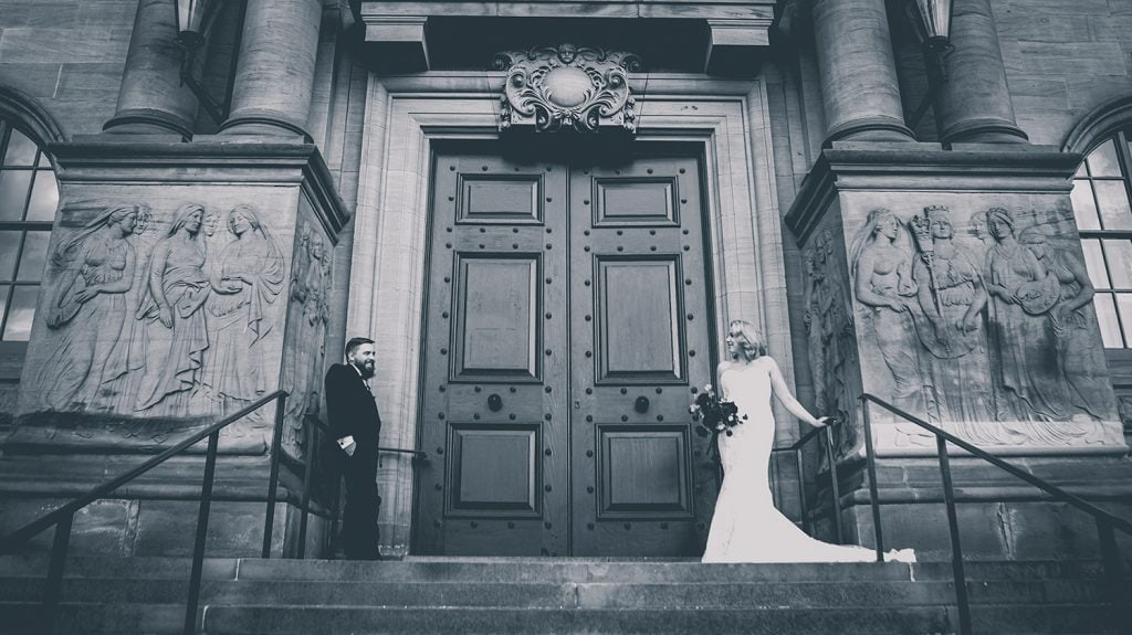 The Bride & Groom in front of South Shields Town Hall