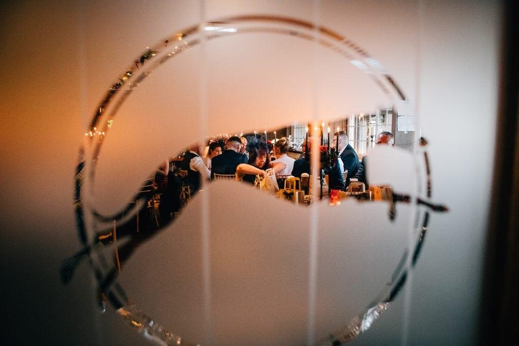 Wedding Guests through The Greyhound Inn