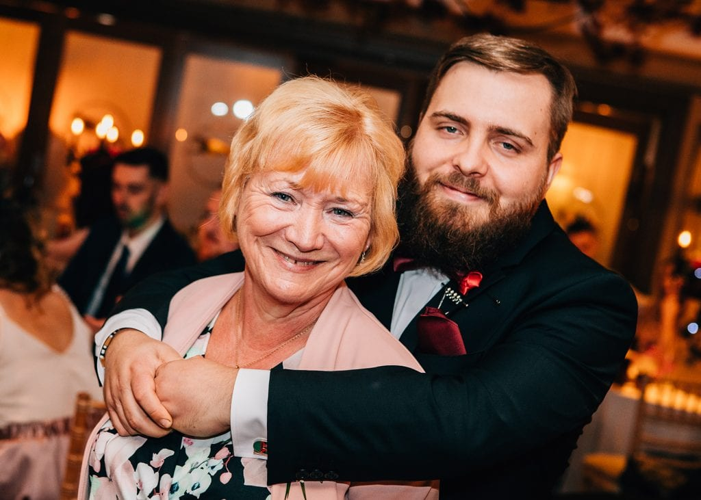 The Groom hugging his mum at The Greyhound Inn