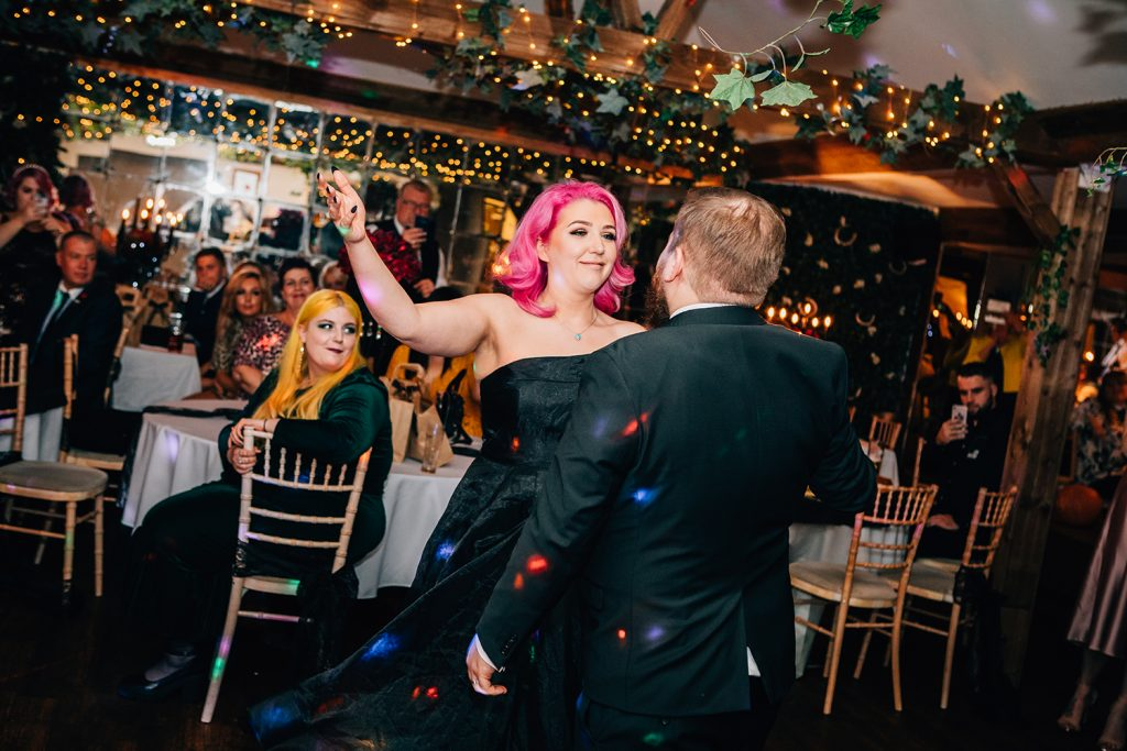 Bride showing off her dance moves at The Greyhound Inn