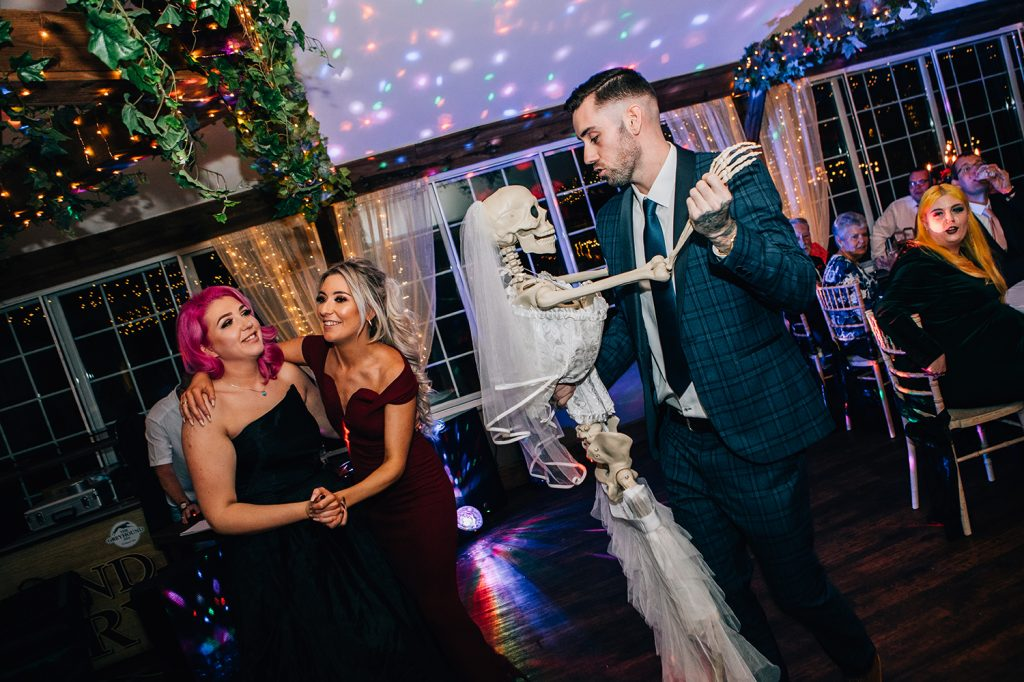 Guest Dancing with a Skeleton Bride at The Greyhound Inn