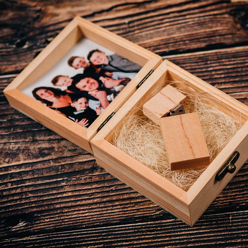 USB Pine Presentation Box at Halo Photography