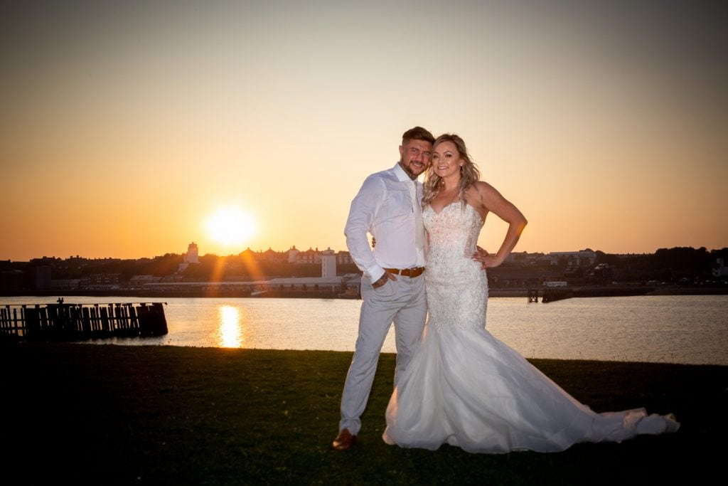 Sunset outside of the Little Haven Hotel in South Shields Wedding Photography