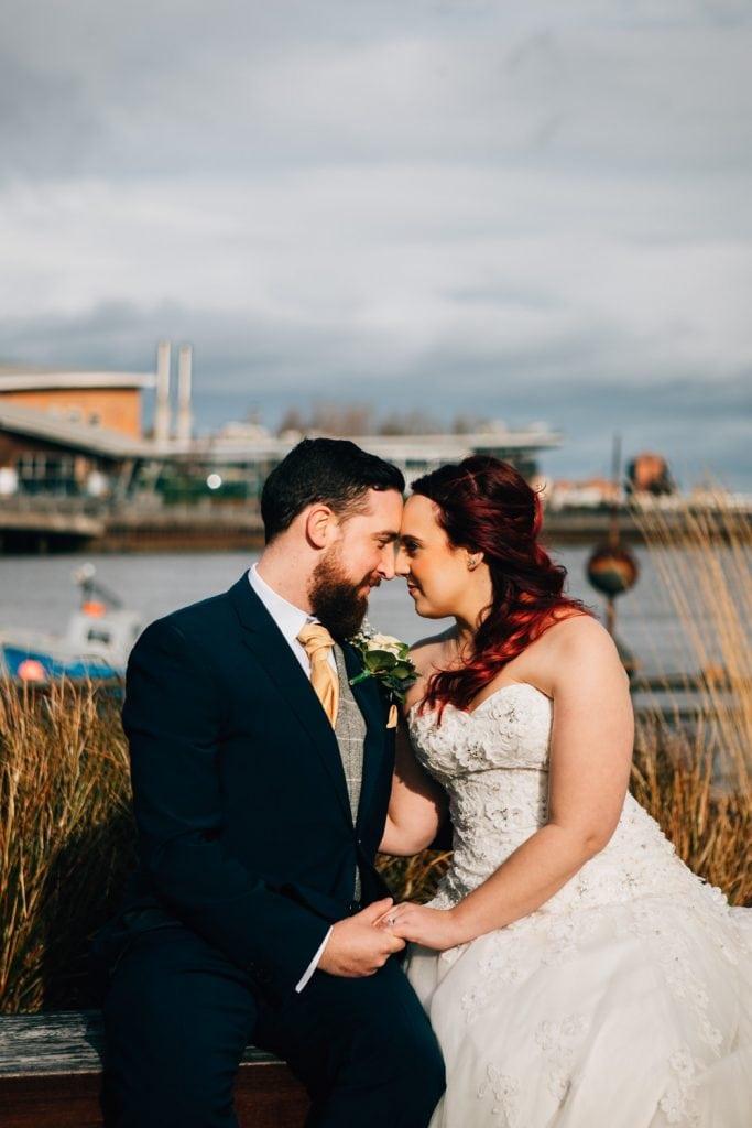 Emily & Josh beside The River Wear