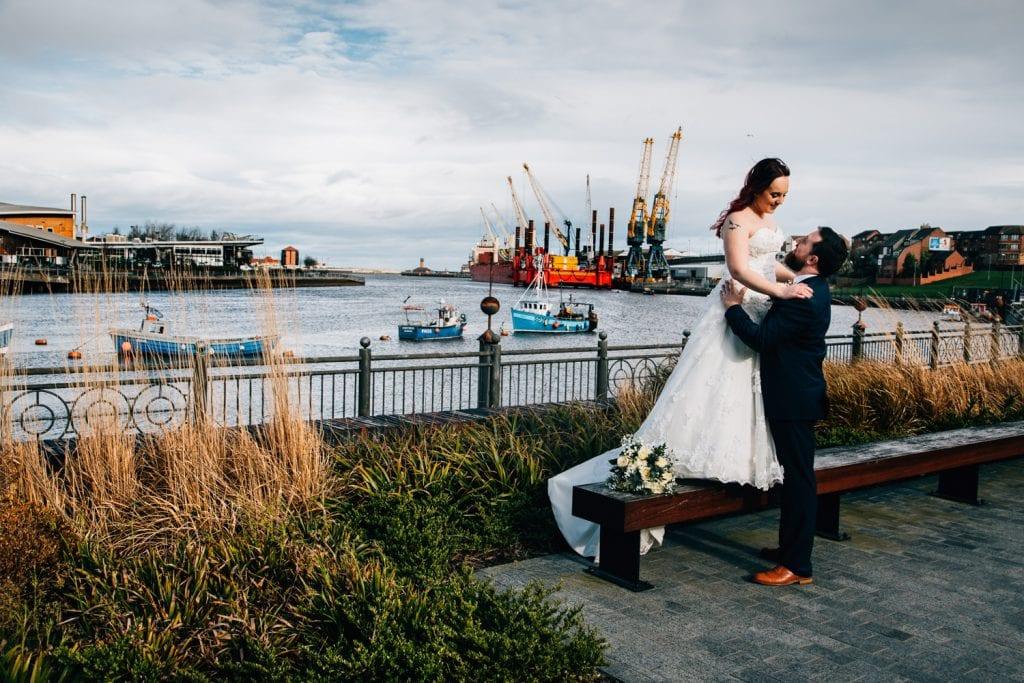 Emily & Josh beside the River Wear in Sunderland