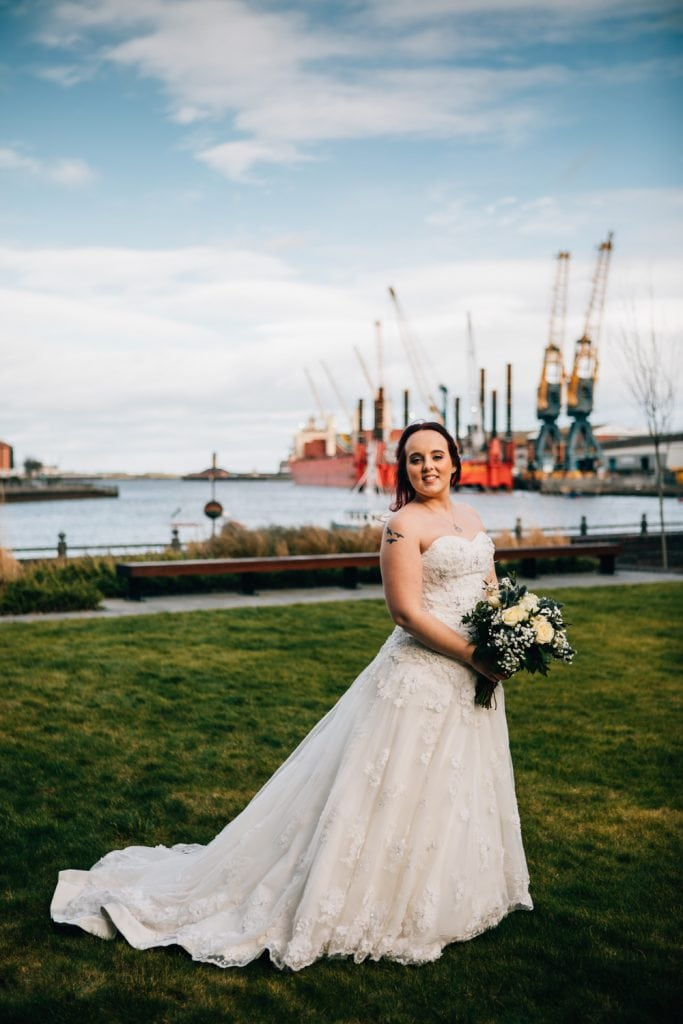 The Bride in front of the River Wear