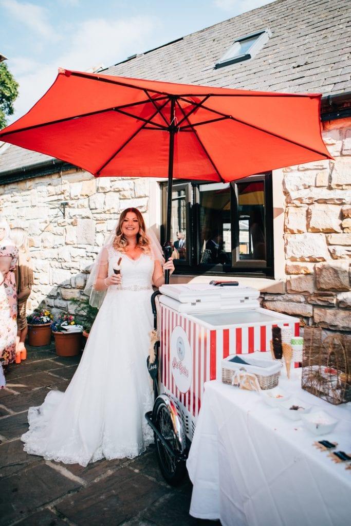 Bride having an ice cream