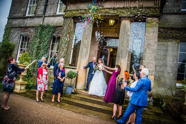 Confetti canons at Doxford Hall