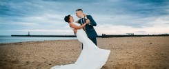 Groom dancing with Bride on Sunderland Beach Front