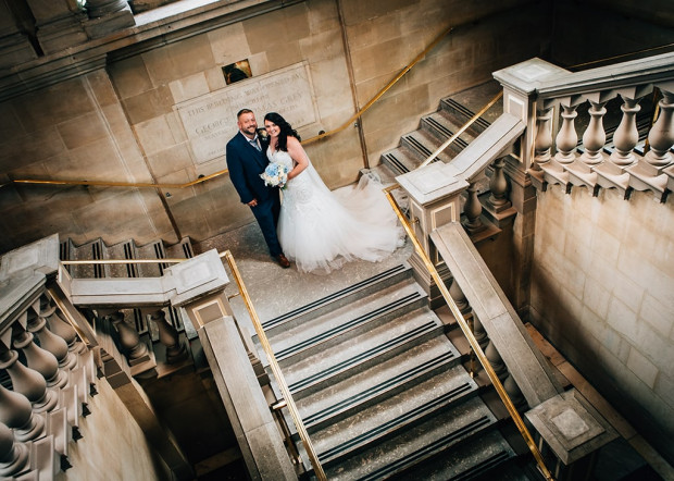 Bride & Groom on the staircase of South Shields Town Hall