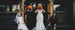 Bride & Groom with Pumpkin Heads outside the Greyhound Inn